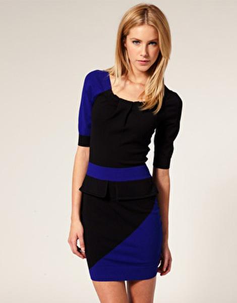 Черно синее платье с баской