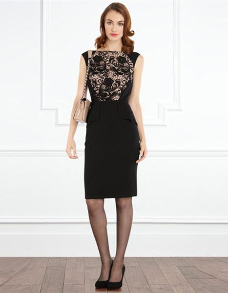 9b8ccb261e5 Элегантное черное платье декорированное кружевом Coast - на сайте ...