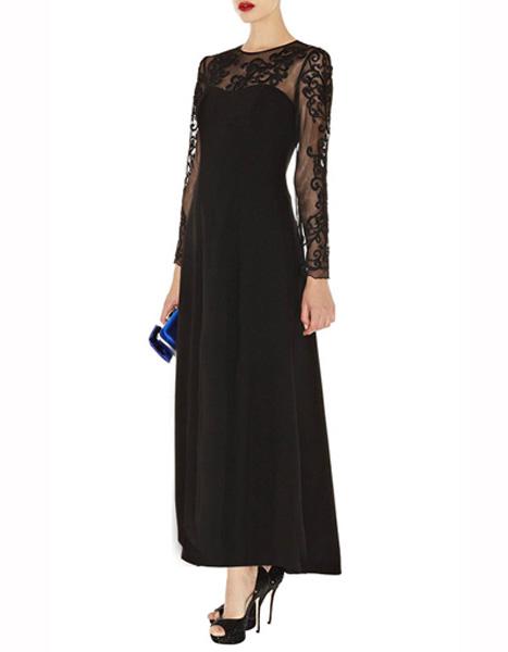 430cd5163378e4e Длинное черное платье с полупрозрачными рукавами Asos - на сайте ...