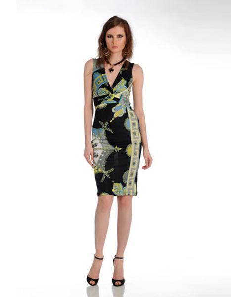 a61507780e71b98 Стильное черное платье с зеленым рисунком Emilio Pucci - на сайте ...
