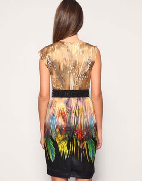 Шелковое цветное платье фото