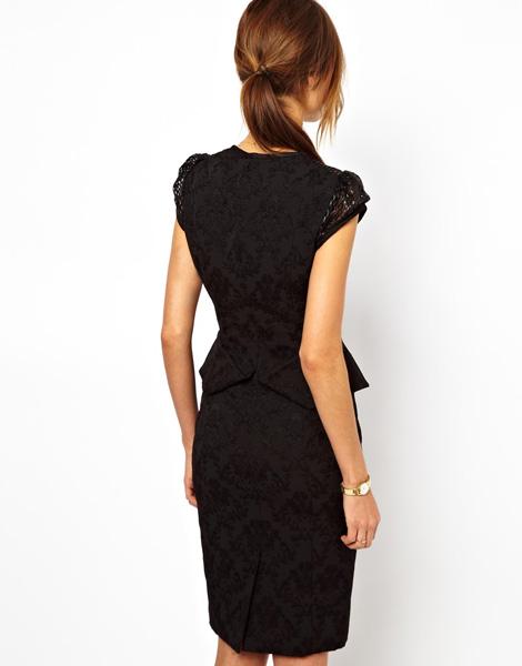 df9a8beb70f08e3 Черное коктейльное платье из жаккарда Karen Millen - на сайте Odry ...