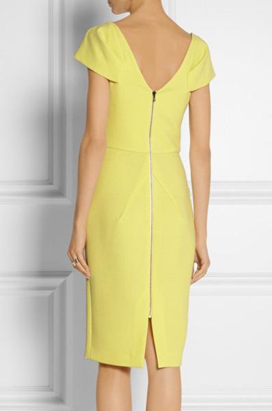 3ab14aa4462 Желтое платье-футляр на черной молнии Victoria Beckham - на сайте ...