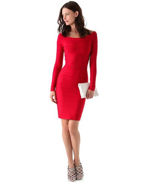 Платье красное herve leger