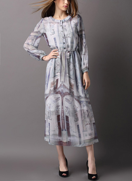 Платье шелковое с длинным рукавом