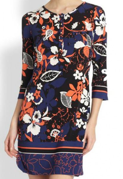 Платье с оранжевым принтом