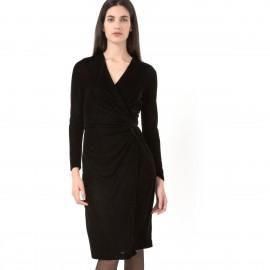 Платье из велюра с драпировкой