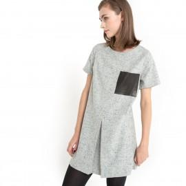 Платье прямого покроя из шерстяной ткани с крапчатым рисунком KINN