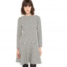 Платье жаккардовое черно-белое