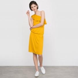 Платье из струящейся ткани с асимметричным вырезом