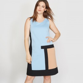 Платье в стиле колорблок без рукавов