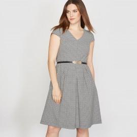 Платье жаккардовое с короткими рукавами