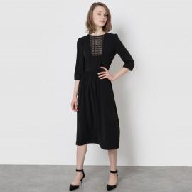 Платье-миди с кружевной манишкой