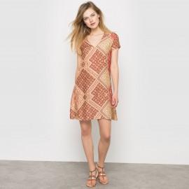 Платье прямое с короткими рукавами и  V-образным вырезом, SCHOOL RAG, Rening