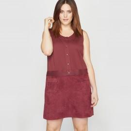 Платье без рукавов из двух материалов с отделкой под кожу