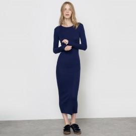 Длинное платье-водолазка из трикотажа с добавлением шерсти