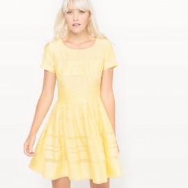 Платье с короткими рукавами из вуали в полоску