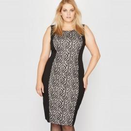 Платье без рукавов из двух материалов