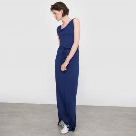Платье длинное однотонное с разрезом