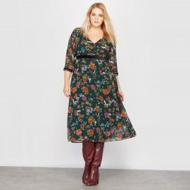Платье длинное с запахом и рисунком