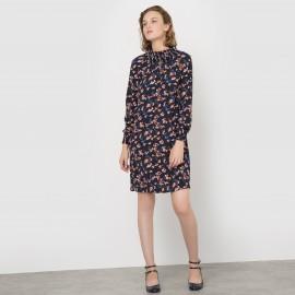 Платье с цветочным принтом с небольшим воротником