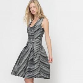 Платье жаккардовое с квадратным вырезом