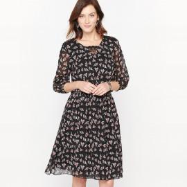 Платье с принтом из струящегося крепа и кружева