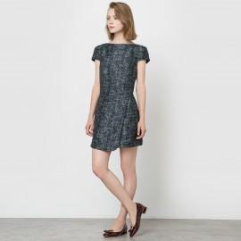 Платье с короткими рукавами, вырез-лодочка
