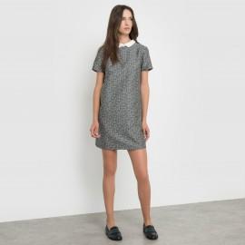 Жаккардовое платье с отложным воротником