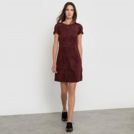 Платье с короткими рукавами из искусственной замши