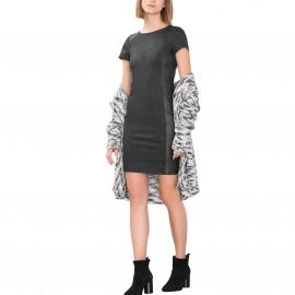 Платье приталенное из комбинированного материала