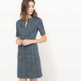 Платье короткое в клетку с короткими рукавами