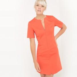 Платье короткое однотонное с короткими рукавами