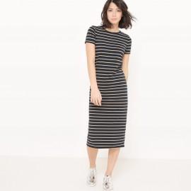 Платье в полоску длиной до колен с короткими рукавами