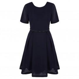 Платье расклешенное с короткими рукавами, в ажурную полоску