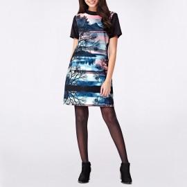 Платье с круглым вырезом и короткими рукавами, с рисунком