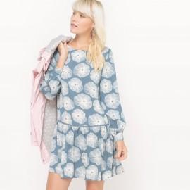 Платье с рисунком длиной до колен с длинными рукавами