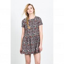 Короткое расклешённое платье с короткими рукавами AZTECA SKIRT