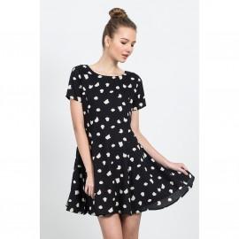 Платье расклешенное с короткими рукавами, CRUELLA DE VIL BLACK DRESS