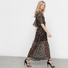 Платье длинное из вуали с рисунком в стиле фолк
