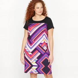 Платье прямого покроя из трикотажа с рисунком