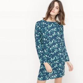 Платье короткое с рукавами 3/4 и рисунком