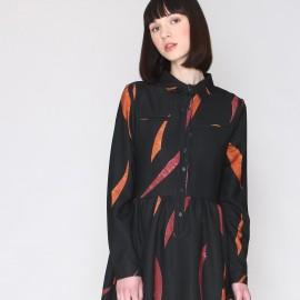 Платье с рисунком, рубашечный воротник