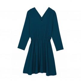 Платье с V-образным декольте и длинным рукавом