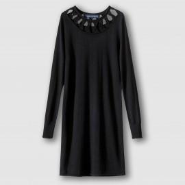 Платье трикотажное с ажурным вырезом