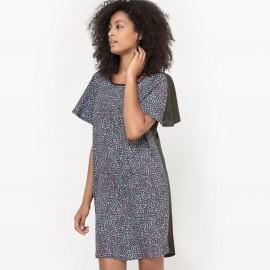 Платье с рисунком и однотонной спинкой
