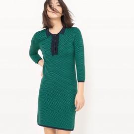 Платье трикотажное из жаккарда, с  воротником