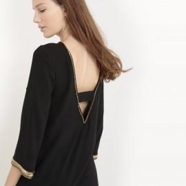 Платье с украшением и декольте сзади
