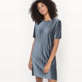 Платье с эффектом плиссировки с короткими рукавами VISOMINA DRESS