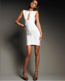 Соблазнительное белое бандажное платье Herve Leger